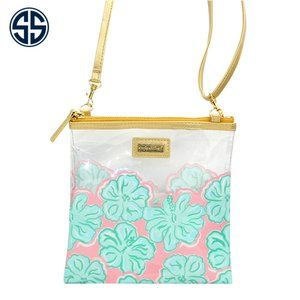 Simply Southern Clear Hibiscus Flower Cross Body
